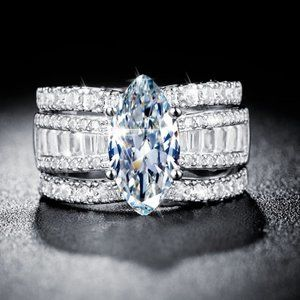 NEW Marquis Baguette Round Diamond Silver Ring